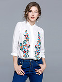 cheap Women's Shirts-Women's Going out Vintage Puff Sleeve Shirt - Floral Embroidered Shirt Collar