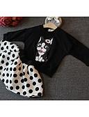 preiswerte Kleidersets für Mädchen-Mädchen Kleidungs Set Alltag Festtage Solide Baumwolle Frühling Kurzarm Freizeit Schwarz