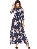 cheap Women's Dresses-Women's Floral Going out Beach Boho Maxi Chiffon Swing Dress Pleated Print High Waist Spring Royal Blue XL XXL XXXL