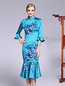 זול שמלות נשים-עומד פרח, פרחוני - שמלה בתולת ים \חצוצרה שרוול התלקחות בגדי ריקוד נשים