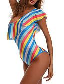 זול 2017ביקיני ובגדי ים-תחתונים צבעים מרובים הדפסה תגובתית, סגנון קלאסי - חלק אחד (שלם) סירה מתחת לכתפיים בגדי ריקוד נשים