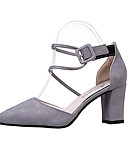 cheap Fashion Scarves-Women's Shoes Cashmere Spring Comfort Heels Chunky Heel Pointed Toe Black / Gray