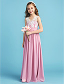cheap Junior Bridesmaid Dresses-A-Line / Princess Queen Anne Floor Length Chiffon / Lace Junior Bridesmaid Dress with Lace / Sash / Ribbon / Pleats by LAN TING BRIDE®