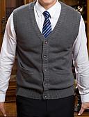 זול סוודרים וקרדיגנים לגברים-צבע אחיד - וסט ללא שרוולים צווארון V מידות גדולות בגדי ריקוד גברים