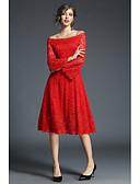olcso Női ruhák-Női Pamut Nadrág - Egyszínű Piros, Csipke Magas derék Fehér / Parti / Little Black / Csónaknyak / Szabadság / Aszimmetrikus