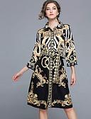 preiswerte Kleider in Übergröße-Damen Hose - Geometrisch Druck Schwarz / Hemdkragen