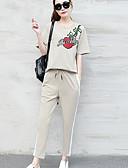 preiswerte Damen zweiteilige Anzüge-Damen Baumwolle T-shirt - Blumen Zitate & Sprüche Hose