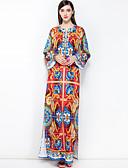 זול שמלות נשים-מקסי פרחוני - שמלה משוחרר כותנה מידות גדולות בסיסי / בוהו בגדי ריקוד נשים