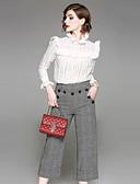 baratos Ternos de Duas Peças Femininos-Mulheres Trabalho Camisa Social Quadriculada Calça