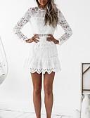זול שמלות נשים-לבן מעל הברך תחרה, סרוג - שמלה נדן שרוול התלקחות מועדונים בגדי ריקוד נשים