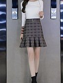 cheap Women's Skirts-Women's Chic & Modern Cotton A Line Skirts - Multi Color Check
