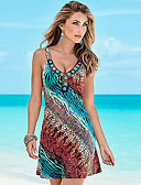 cheap Women's Jumpsuits & Rompers-Women's Beach Boho Cotton Shift Dress - Rainbow Print V Neck