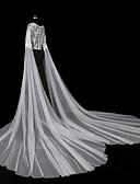 זול הינומות חתונה-שכבה אחת סגנון מודרני / אביזרים / סגנון פרח הינומות חתונה צעיפי סומק / צעיפי קפלה עם אפליקציות טול / חיתוך זווית / מפל / אפליקצית קצה תחרה