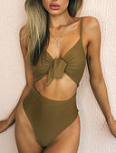 cheap One-piece swimsuits-Women's Sophisticated Strap White Red Army Green One-piece Swimwear - Solid Colored M L XL White / Sexy