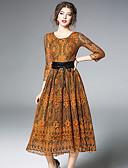 זול שמלות נשים-תחרה חלול חיצוני Ruched, קולור בלוק - שמלה נדן תחרה סווינג בגדי ריקוד נשים
