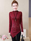 זול סוודרים לנשים-אחיד צווארון עגול קצר סגנון רחוב כותנה, טישרט - בגדי ריקוד נשים / אביב / סתיו