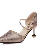 hesapli Kokteyl Elbiseleri-Kadın's Ayakkabı Streç Saten Yaz Rahat Sandaletler Düşük Topuk Yuvarlak Uçlu için Payet Altın / Siyah / Gümüş