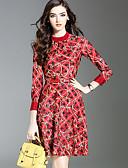 baratos Macacões e Macaquinhos para Mulheres-Mulheres Moda de Rua Evasê Bainha Vestido - Estampado Colarinho Chinês Altura dos Joelhos Acima do Joelho