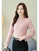billige T-shirt-Høj krave Dame - Ensfarvet Sofistikerede Bluse / Blonde