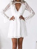 זול שמלות נשים-לבן צווארון V מעל הברך תחרה, סרוג - שמלה נדן שרוול התלקחות מועדונים בגדי ריקוד נשים