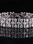 billige Tights-Dame Syntetisk Diamant Armbånd - Sølvplett Armbånd Sølv / Blå / Rosa Til Bryllup / Fest