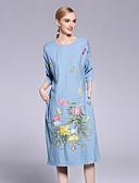 זול שמלות נשים-סטרפלס U עמוק פרח, פרחוני - שמלה משוחרר סגנון סיני בגדי ריקוד נשים