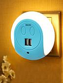 preiswerte Taschenuhr-BRELONG® 1pc Steckdose Nachtlicht Smart Sensor Dual USB US Handyladegerät Nacht Lichtsteuerung
