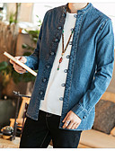 זול חולצות לגברים-אחיד סגנון סיני כותנה, חולצה - בגדי ריקוד גברים / שרוול ארוך