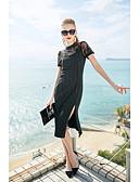 זול שמלות נשים-צווארון עגול קצר מידי תחרה, פסים - שמלה נדן שרוול פרפר בגדי ריקוד נשים