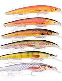 זול מכנסיים ושורטים לגברים-6 יח ' פתיונות דיג Minnow פיתיון קשיח פלסטי חוץ דיג בים חכות וסירת דיג דיג בפתיון