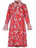 זול שמלות נשים-צווארון חולצה מידי דפוס שמלה משוחרר מידות גדולות בגדי ריקוד נשים
