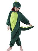 baratos Couro-Crianças Pijamas Kigurumi Dinossauro Pijamas Macacão Lã Polar Verde Cosplay Para Meninos e meninas Pijamas Animais desenho animado Festival / Celebração Fantasias