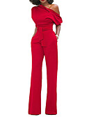 cheap Women's Two Piece Sets-Women's Holiday Sophisticated Cotton Jumpsuit - Solid Colored, Bow Wide Leg One Shoulder / Spring / Summer / Slim