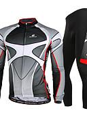 preiswerte T-Shirt-Nuckily Herrn Langarm Fahrradtrikots mit Fahrradhosen - Grau Fahhrad Kleidungs-Sets, Rasche Trocknung, UV-resistant, Atmungsaktiv,