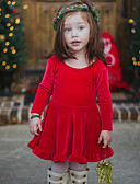 cheap Girls' Clothing-Baby Girls' Simple Christmas / Daily Solid Colored Short Sleeve Regular Regular Cotton / Linen / Bamboo Fiber Dress Red 2-3 Years(100cm) / Toddler