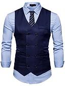 billige Herreblazere og jakkesæt-Herre Ensfarvet Simple Vest / Uden ærmer / Arbejde