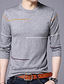 זול מכנסיים ושורטים לגברים-אחיד צווארון עגול כותנה, טישרט - בגדי ריקוד גברים / שרוול ארוך
