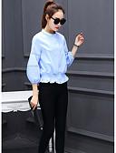 رخيصةأون كنزات نسائية-نسائي قميص مرتفعة - أناقة الشارع لون سادة