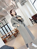 cheap Women's Coats & Trench Coats-Women's Daily Winter Maxi Coat, Solid Colored V Neck Long Sleeve Silk Green / Black / Gray M / L / XL
