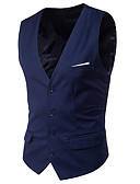 cheap Men's Blazers & Suits-Men's Daily Spring Short Vest, Solid Colored V Neck Sleeveless Polyester Classic Style Light Blue / Light gray / Royal Blue XXXXL / XXXXXL / XXXXXXL