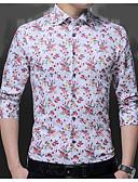 זול חולצות לגברים-פרחוני צווארון רחב חולצה - בגדי ריקוד גברים דפוס / שרוול ארוך