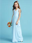 billige Blomsterpikekjoler-A-linje / Prinsesse V-hals Gulvlang Chiffon Junior brudepikekjole med Belte / bånd / Kryssdrapering / Plissert av LAN TING BRIDE®