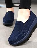 hesapli Gelin Şalları-Kadın's Ayakkabı Deri Yaz / Sonbahar Rahat Mokasen & Bağcıksız Ayakkabılar Dolgu Topuk Yuvarlak Uçlu için Siyah / Koyu Mavi / Kırmzı