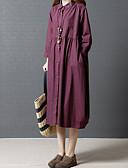 preiswerte Damen Kleider-Damen Ausgehen Baumwolle Lose / Hemd Kleid - Gefaltet, Solide Midi Hemdkragen