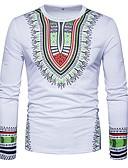 baratos Camisetas & Regatas Masculinas-Homens Camiseta Boho Estampado, Tribal Algodão Decote Redondo Delgado / Manga Longa