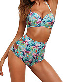 cheap Women's Swimwear & Bikinis-Women's Halter Neck Green Black Bandeau High Waist Bikini Swimwear - Floral Print M L XL