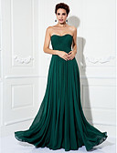 cheap Evening Dresses-A-Line Strapless Sweep / Brush Train Chiffon Formal Evening Dress with Ruched / Pleats by TS Couture®