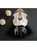 tanie Zestawy ubrań dla dziewczynek-Brzdąc Dla dziewczynek Casual Codzienny Solidne kolory Bez rękawów Regularny Regularny Bawełna / Włókno bambusowe Komplet odzieży Biały 100