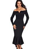 זול שמלות נשים-צווארון V מותניים גבוהים מידי אחיד - שמלה נדן בגדי ריקוד נשים / סתיו