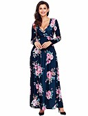 cheap Women's Blouses-Women's Going out Sheath Dress - Floral Maxi V Neck / Fall / Winter / Floral Patterns